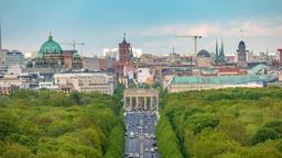 Berlin city skyline timelapse at Brandenburg Gate and Tier Garden, Berlin, Footage