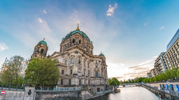 Berlin city skyline timelapse at Berlin Cathedral (Berliner Dom) and Spree Footage