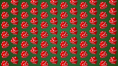 Red dice cubes casino gambling green background GIF