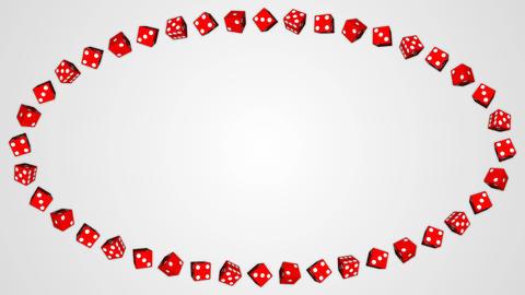Red dice cubes casino gambling white ellipse border frame background GIF