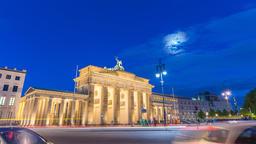 Berlin city skyline night timelapse at Brandenburg Gate (Brandenburger Tor), Footage