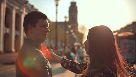 Young cute couple having fun in the city Footage