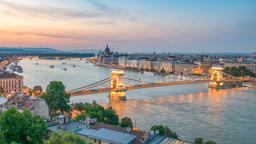 Budapest city skyline at Danube River day to night timelapse, Budapest, Hungary Footage