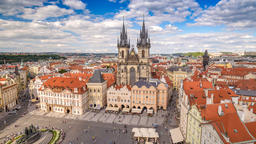 Prague city skyline timelapse at Prague old town square, Prague, Czech Republic Footage