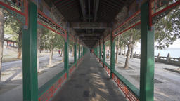 4k dolly shot of the Long Corridor at Summer Palace in Beijing Footage