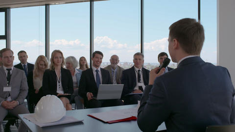 Business audience at presentation Footage