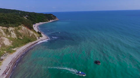 Blue Bay of the Black sea Beautiful beach in the black sea region of Krasnodar ビデオ