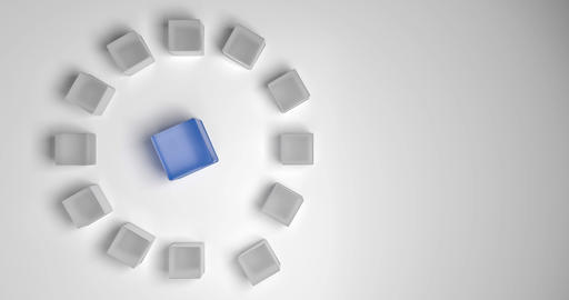 Concept for a meeting or a leader. Big blue cube surrounded by small gray cubes Animation