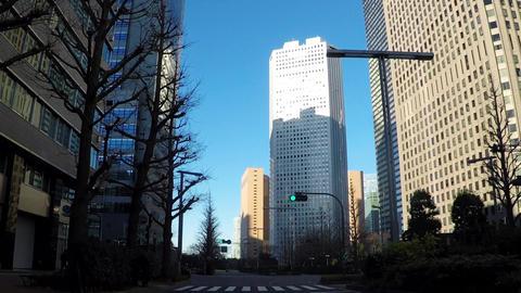 Japanese cityscape. Driving near Bill County in Nishi-Shinjuku, Tokyo Footage