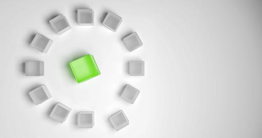 Meeting of a group or a team. A big green cube with some small gray cubes Animation