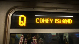 Coney Island Q Subway Train Approaches Station Footage