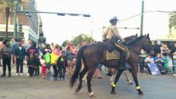 Police on Horseback Patrol a Mardi Gras Parade Route 4090 Footage