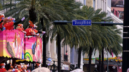 Throwing Beads from a Mardi Gras Parade Float 4096 Footage