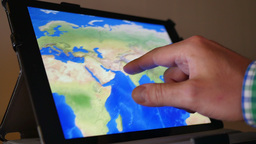 4K Examine a Map on an iPad 4262 Footage