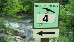4K Geology Sign On A Trail 4364 stock footage