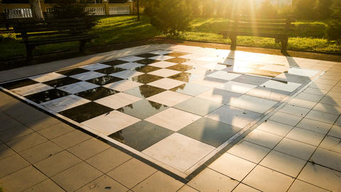 Chessboard in the central park フォト