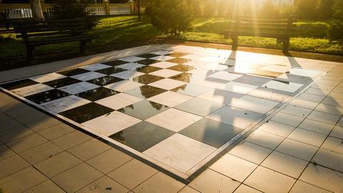 Chessboard in the central park Fotografía