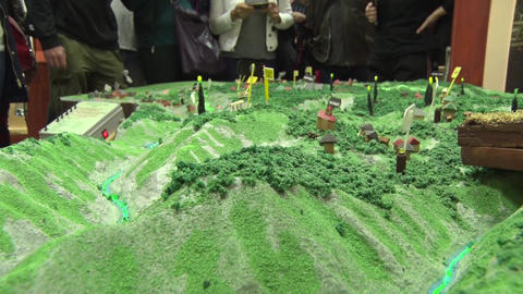 Model of the mountain with figurines Footage