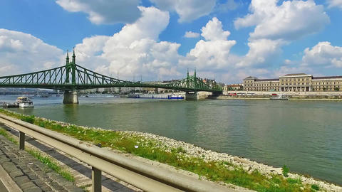 Liberty bridge Szabadsag hid Budapest Hungary Danube River Footage
