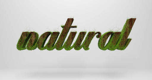 "The word ""natural"" on a gray background. Plants grow on the text Animation"