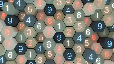 4K Abstract Honeycomb Grid With Random Numbers Footage