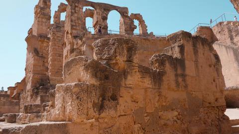Architecture ruins of Amphitheatre of El Jem in Tunisia, crane shot Live Action