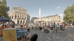 Frankfurt / Germany - August 02 2018: People searching for refreshment in the Footage