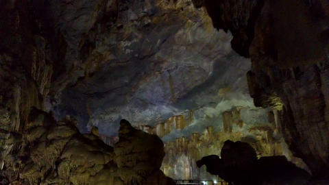 view though bizarre shaped rocks on natural karst cave Live Action