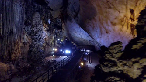 majestic place for cavers exploration of huge karst cavern Live Action