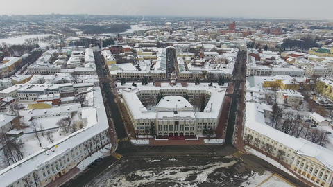 The centre of the city of Yaroslavl in winter aerial photography Live Action