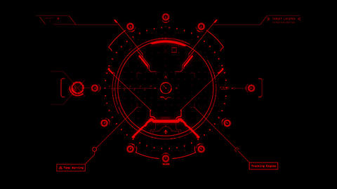 Red HUD Weapon Interface Motion Graphic Element Animation