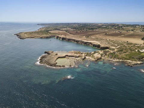 Aerial view of scenic coastline of Plemmirio in Sicily Photo
