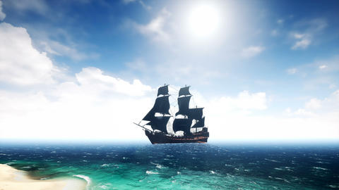 Beautiful pirate ship in the sea. Loopable Animation