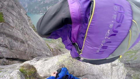 BASE Jumping Wingsuit from a Water Falls in Norway Footage