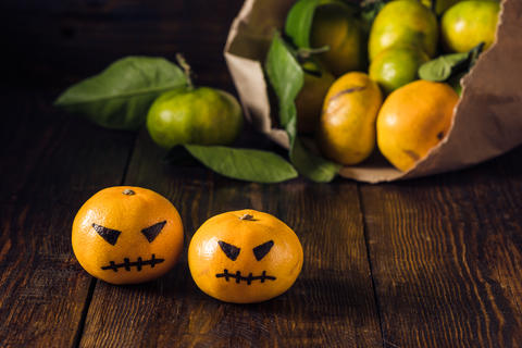 Two scary tangerines for Halloween Photo