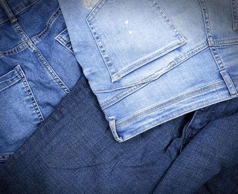 different classic blue jeans, full frame フォト