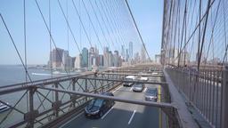 4k dolly shot of Brooklyn Bridge in New York City Footage