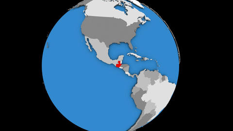 Zooming in on Guatemala on political globe Animation