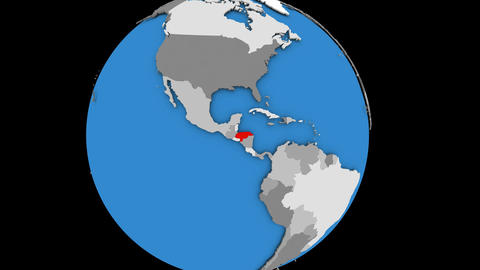 Zooming in on Honduras on political globe Animation