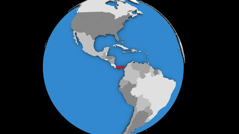 Zooming in on Panama on political globe Animation