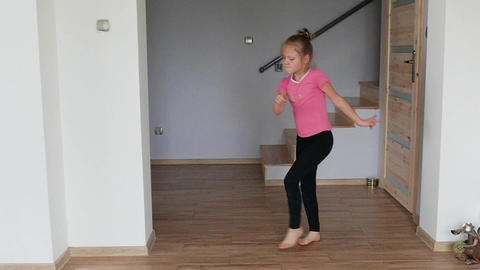 Happy, Young Girl Is Dancing. Slow Motion Shot 05 Footage