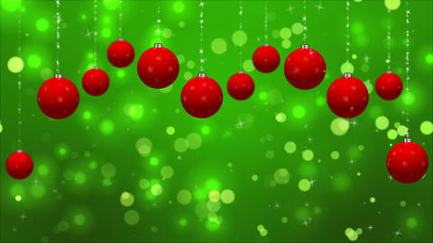 Christmas Classic Red Green background with Ornaments Loop Animation