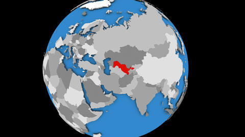 Zooming in on Uzbekistan on political globe Animation
