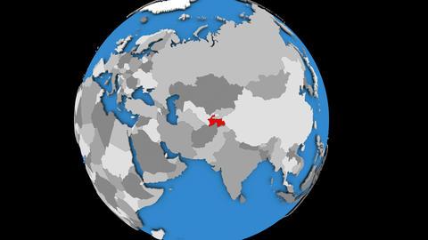 Zooming in on Tajikistan on political globe Animation