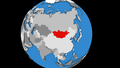 Zooming in on Mongolia on political globe Animation