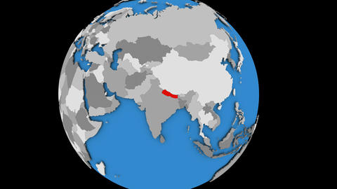 Zooming in on Nepal on political globe Animation