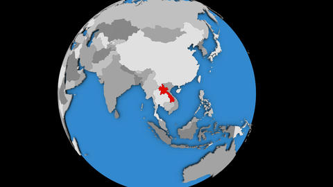 Zooming in on Laos on political globe Animation