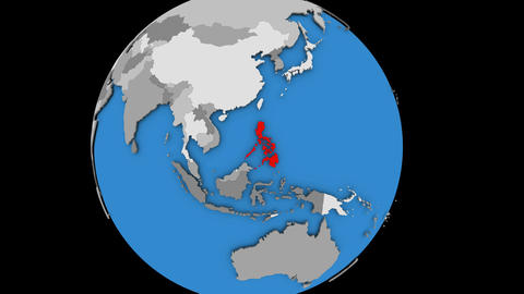 Zooming in on Philippines on political globe Animation
