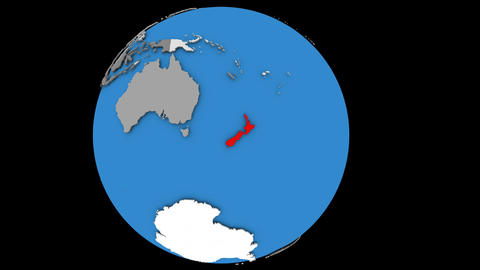 Zooming in on New Zealand on political globe Animation