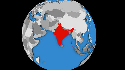 Zooming in on India on political globe Animation